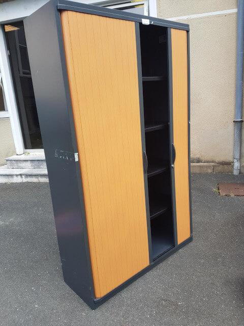 armoire haute graphite rideau poirier bois l120 h198