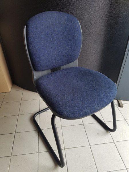chaise eurosit pied luge tissu bleu