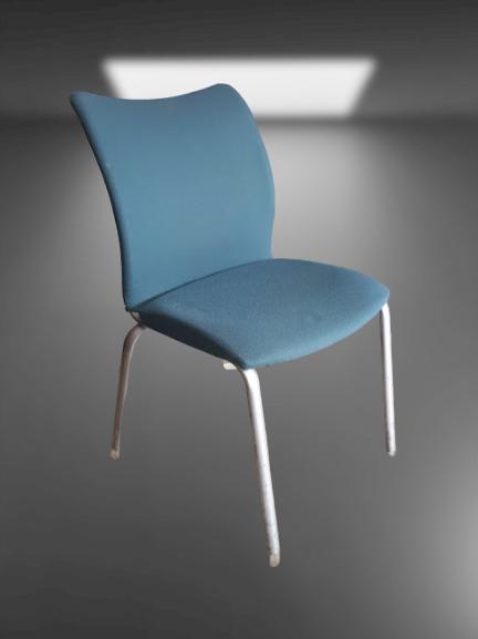 chaise 4 pieds chromés tissus couleur