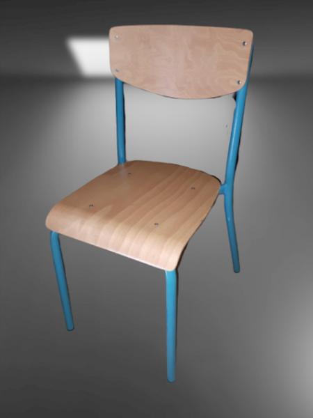 chaise tube bois bleu