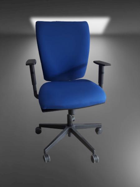chaise à roulettes tissu bleu foncé