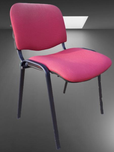 chaise 4 pieds noir tissu rouge