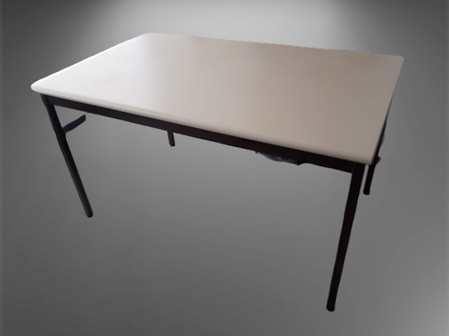 table beige l130 p80 4 pieds marron