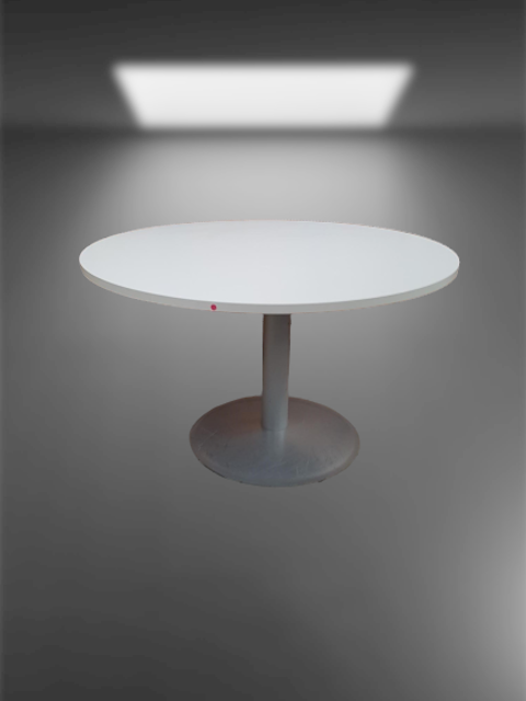 table ronde D120 blanche pied gris alu