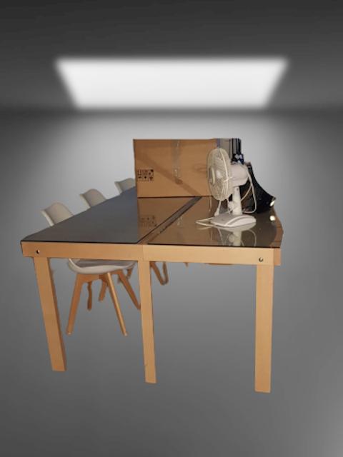 table de réunion bois dessus verre