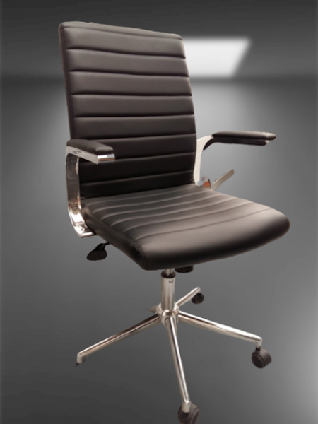 chaise à roulettes simili cuir accoudoirs