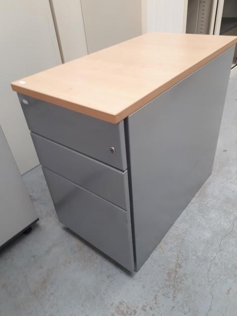 Caisson hauteur bureau métal gris top hêtre