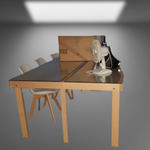 Z5.3 TABLE DE REUNION BOIS DESSUS VERRE  L440  P120 EP 8