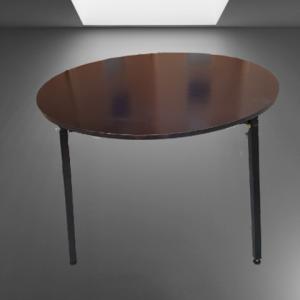 Z62.14 TABLE RONDE NOIRE D 110 ET 4 PIEDS METAL CARRE NOIR