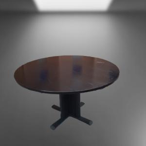 Z62.15 TABLE RONDE D125 NOIR PIED PANNEAU AU MILIEU