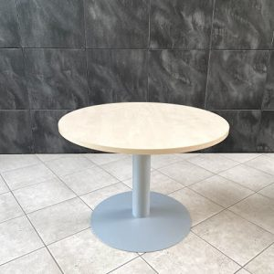 Z5.44 TABLE RONDE D120 HETRE CLAIR PIED CENTRAL METAL GRIS