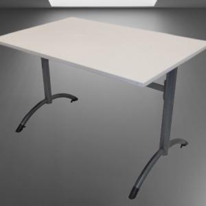 Z63.17 TABLE L120 P80 BEIGE PIEDS LATERAUX GRIS MARTELE