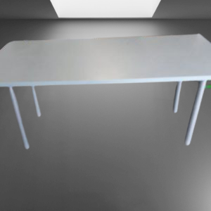 Z63.22 TABLE RECTANGULAIRE BLEU CHINE 4 PIEDS TUBES L174 P82