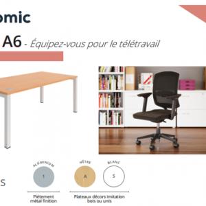 """Pack télétravail bureaux et fauteuils neufs """"A6"""""""