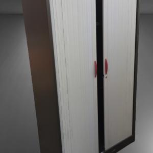 Z11.14 Armoire haute graphite rideaux gris clair L120 RONEO