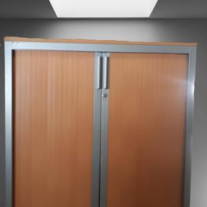 z12.34 armoire basse gris metal rideau poirier top steelcase l100