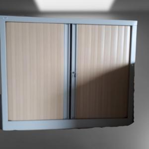 z13.6 armoire mi-haute gris métal rideaux hêtre clair h148 l120