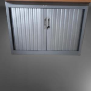 z15.11 armoire HB gris métal top hêtre l100