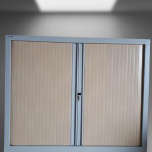 z12.38 armoire basse gris métal rideaux hêtre l120